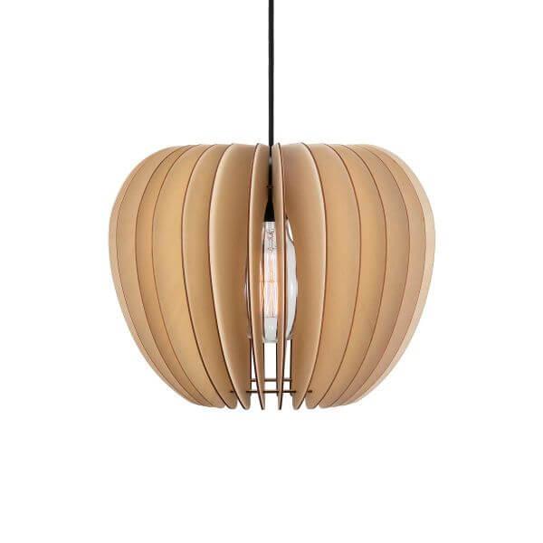 skandynawska lampa wisząca brązowa ze sklejki, ażurowa