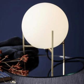 Szklana lampa stołowa Alton - Nordlux - kula w złotej oprawie