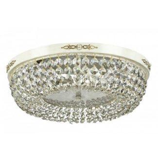 Okrągły plafon Garda - Maytoni - kremowy, złoty, kryształki