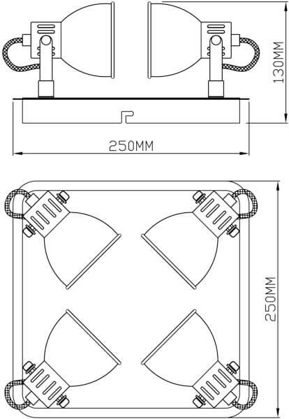 kwadratowa lampa sufitowa