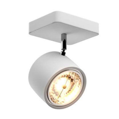 biały, nowoczesny reflektor sufitowy z regulacją