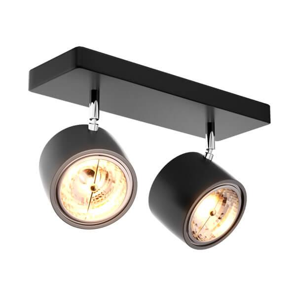 podwójna lampa sufitowa z czarnymi reflektorami mobilnymi