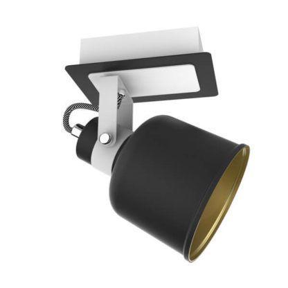lampa sufitowa, czarno-biały reflektor, styl skandynawski, nowoczesny