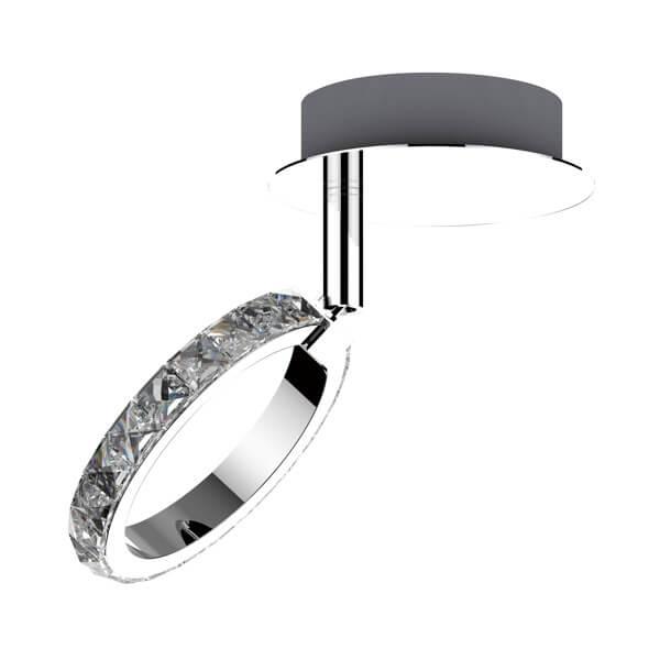lampa sufitowa glamour, kryształowy okrąg, dekoracyjne światło LED