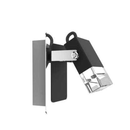nowoczesny, geometryczny kinkiet czarno-srebrny