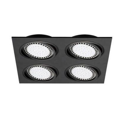 lampa sufitowa spot, oczko, cztery oczka w jednej, czarnej oprawie, nowoczesne