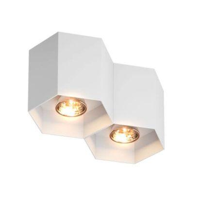 podwójna lampa sufitowa, plaster miodu, biała