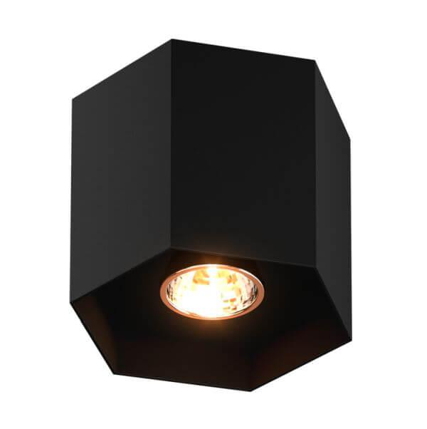 czarna lampa sufitowa, wielościan,