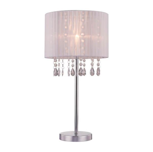 lampa stołowa z cienkim abażurem ozdobiona kryształkami wewnątrz klosza