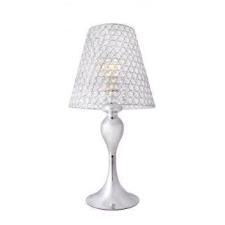 Elegancka lampa stołowa Marvel - połyskujący klosz, srebrna podstawa