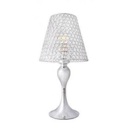 srebrna lampa stołowa z kloszem z kryształów