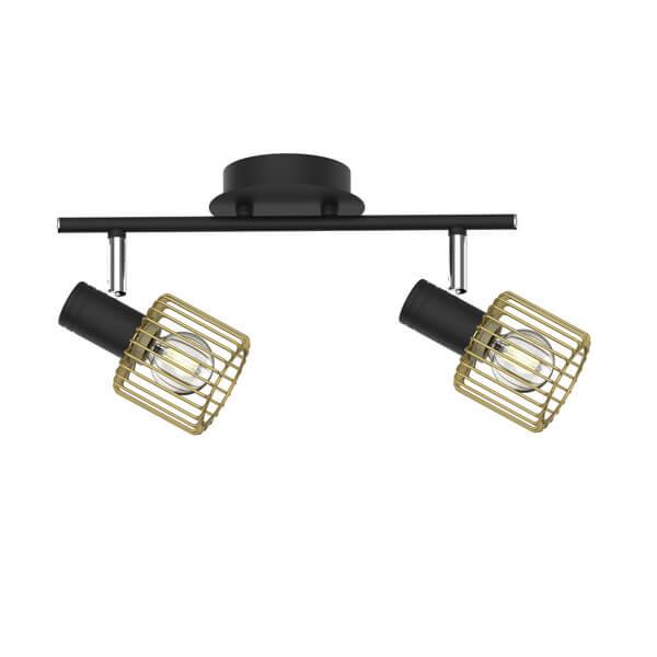podwójna lampa sufitowa czarno-złota w stylu skandynawskim, industrialnym