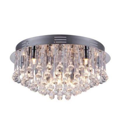 okrągły, srebrny plafon ozdobiony zwisającymi kryształkami