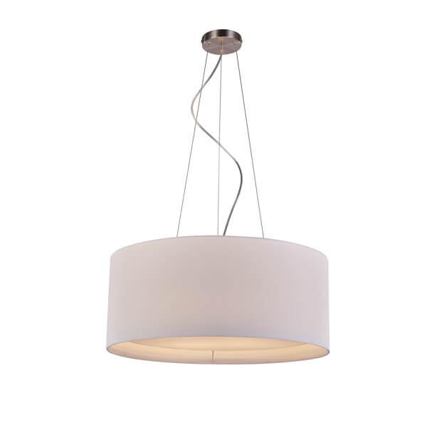 minimalistyczna, elegancka lampa wisząca z białym abażurem