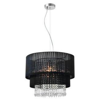 Duża lampa wisząca Leta - Zuma Line - kryształki, czarny abażur
