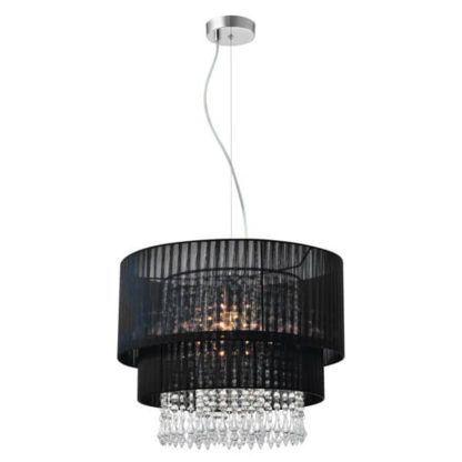 Duża czarna lampa wisząca glamour z abażurem