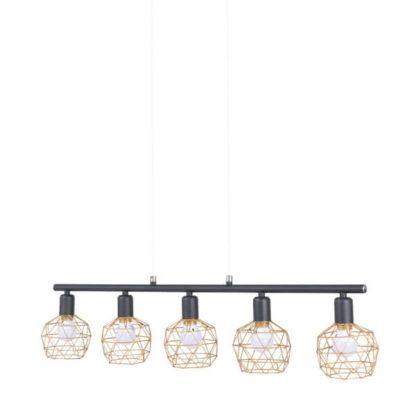 lampa wisząca z ażurowymi, złotymi, drucianymi kloszami