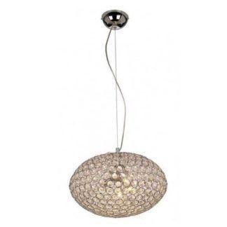 Nowoczesna lampa wisząca Rosa – owalny klosz, kryształki