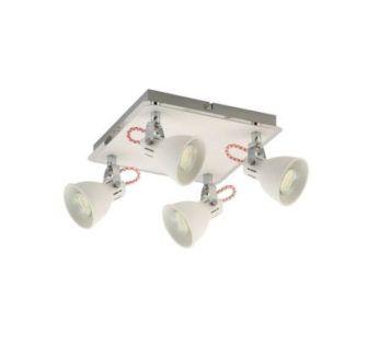 Biała lampa sufitowa Rava - Zuma Line - cztery reflektory, kwadrat
