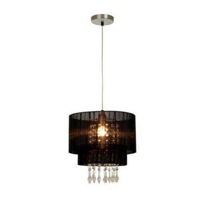 lampa wisząca w stylu glamour, czarny abażur, kryształki