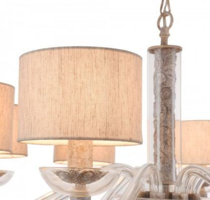 szklany żyrandol z abażurami, modern classic