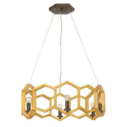 złota lampa wisząca, okrągła, złoty plaster miodu