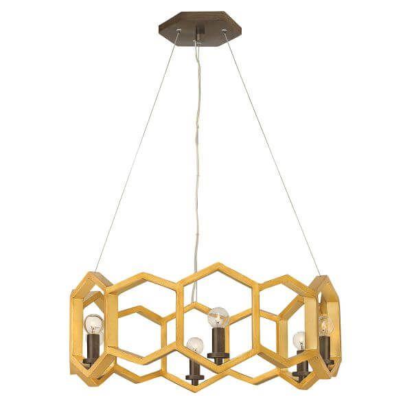 rustykalna lampa wisząca, oryginalna, kształt plastra miodu, złota