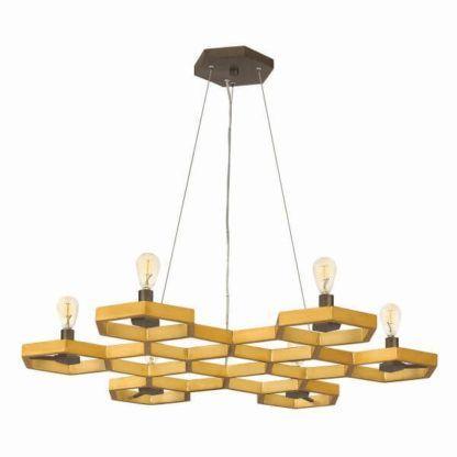 duża lampa wisząca, pozioma, kształt plastra miodu, złoto-czarna