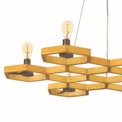 lampa wisząca, złota, plaster miodu
