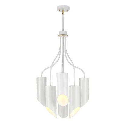 biała lampa wisząca hi-tech, nowoczesna, sześć kloszy