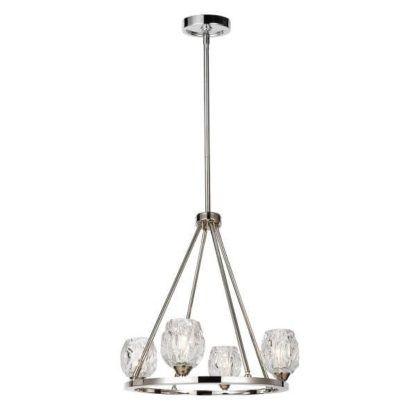 srebrna lampa wisząca ze szklanymi kloszami na metalowej obręczy