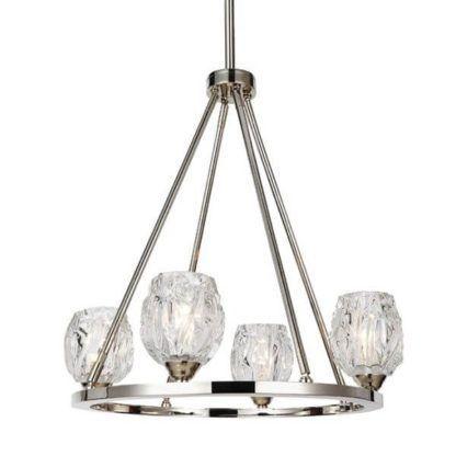 okrągły żyrandol ze szklanymi kloszami na metalowej obręczy, srebrny