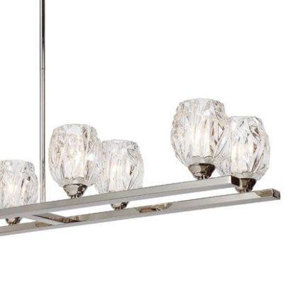 podłużna lampa wisząca ze szklanymi kloszami na srebrnej belce, lampa nad stół do jadalni