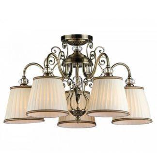 Elegancki żyrandol Vintage 5 - brązowy, białe abażury