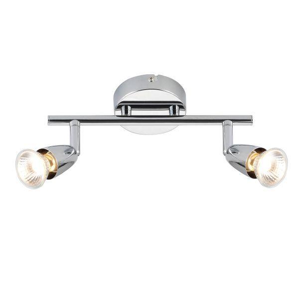 lampa sufitowa z dwoma srebrnymi reflektorami na poziomej belce