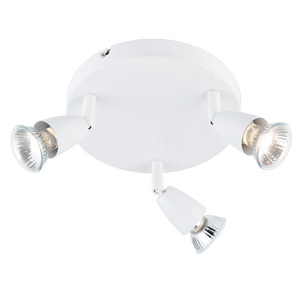 okrągła lampa sufitowa, białe reflektory