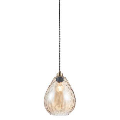 szklana lampa wisząca, odcień koniaku
