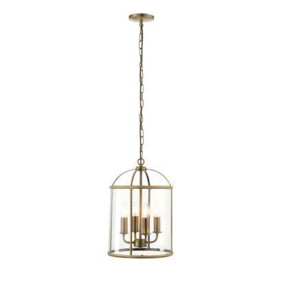 lampa wisząca w stylu retro, latarenka, złota, szklana