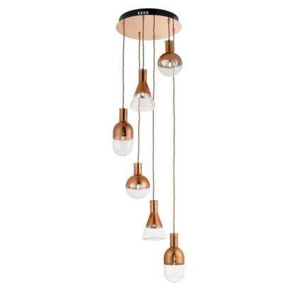nowoczesna lampa wisząca miedź, małe klosze ze szkła, spirala