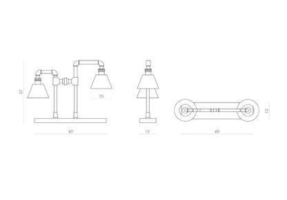 podwójna lampa stołowa, industrialna