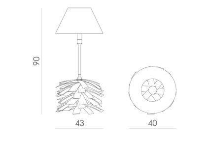 lampa stołowa z podstawą w kształcie szyszki