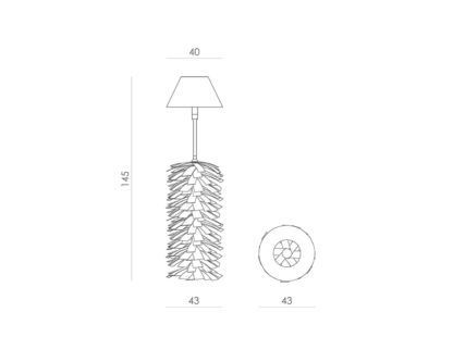 lampa podłogowa z drewnianych listewek