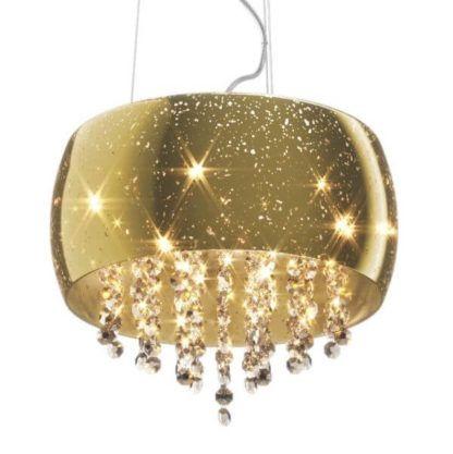 lampa wisząca połyskująca, złoty szklany klosz i wystające kryształki