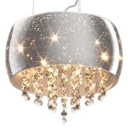 lampa wisząca w stylu glamour, srebrny klosz z kryształami