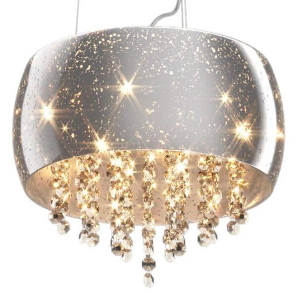 Lampa Wisząca Vista Srebrny Klosz Styl Glamour