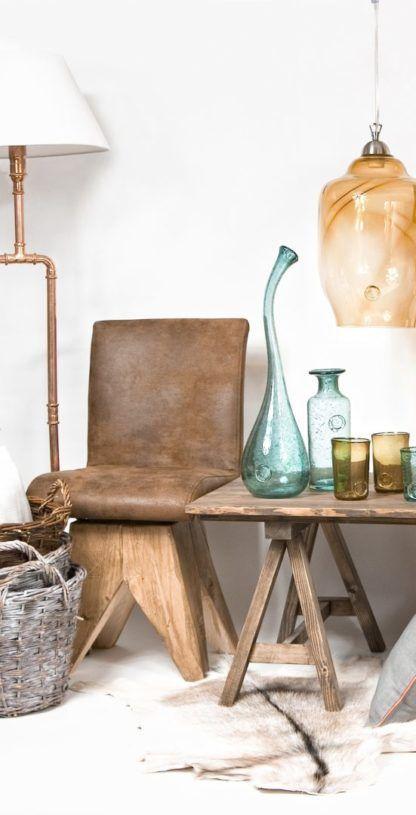 industrialny design - lampa podłogowa z miedzianych rurek