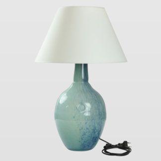 Lampa stołowa Rafaello - szklana, turkusowo-zielona, z abażurem
