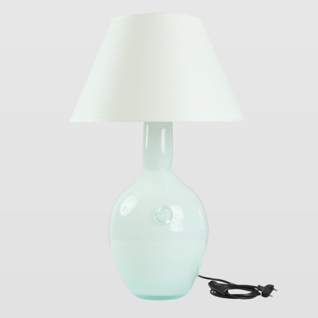 lampa stołowa z białego szkła, z abażurem
