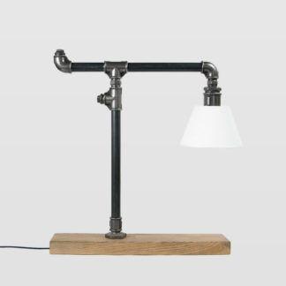 Lampa stołowa Lantern - stalowa, czarna, z abażurem
