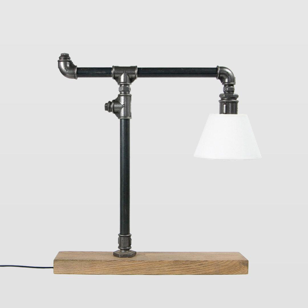 industrialna lampa stołowa, srebrna z białym abażurem, z rurek